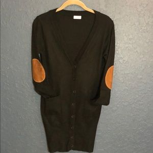 Tobi long cardigan brown suede-like elbow patches